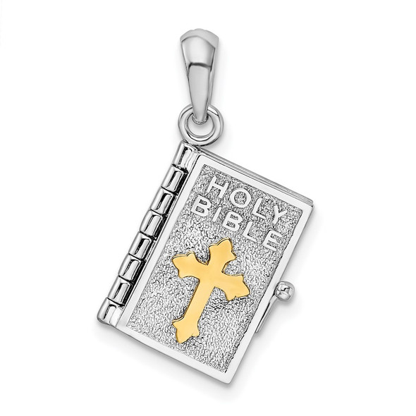 Sterling Silver Polished 3D Lords Prayer Holy Bible Pendant