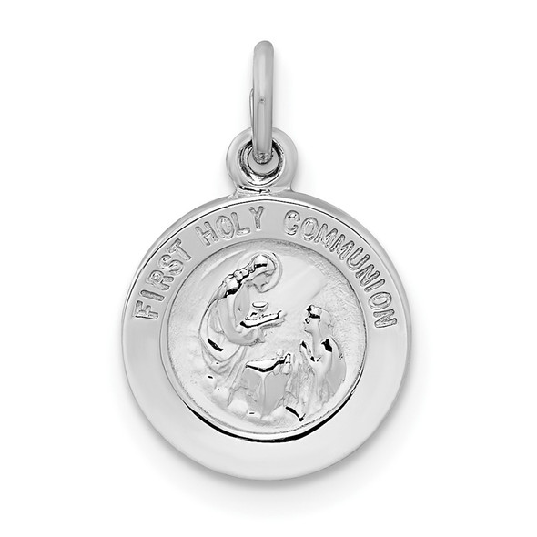 Sterling Silver Rhodium-plated Polished Solid 1st Holy Communion Pendant QC11223