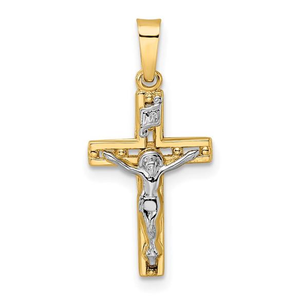14k Two-tone Gold Polished Solid INRI Crucifix Pendant XR2048