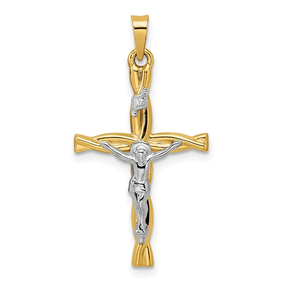14k Two-tone Gold Polished Hollow INRI Crucifix Twisted Cross Pendant