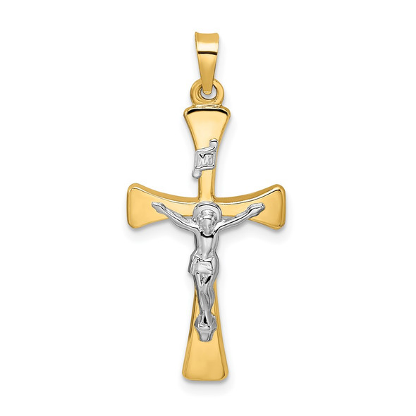 14k Two-tone Gold Polished Hollow INRI Crucifix Cross Pendant XR2059