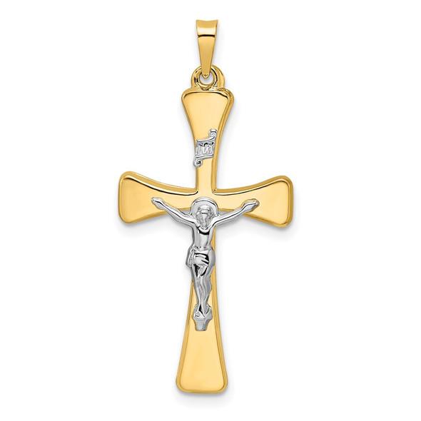 14k Two-tone Gold Polished Hollow INRI Crucifix Cross Pendant XR2058