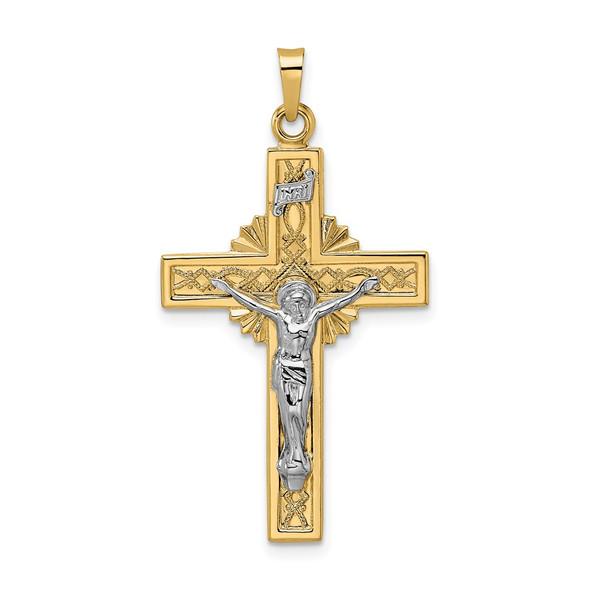 14k Two-tone Gold Polished Solid Celtic INRI Crucifix Pendant