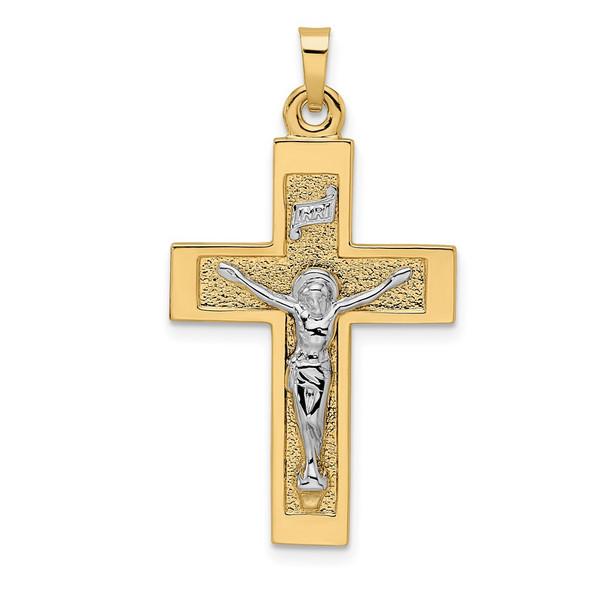 14k Two-tone Gold Polished Solid INRI Crucifix Pendant XR2040