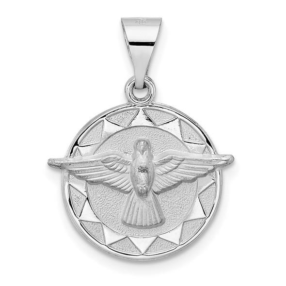 14k White Gold Polished and Satin Hollow Holy Spirit Pendant