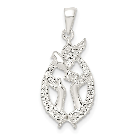 Sterling Silver Polished Dove with Hands Pendant