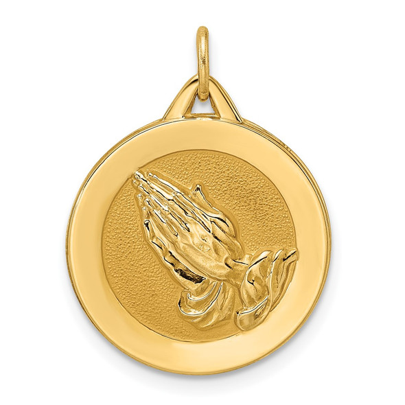 14k Yellow Gold Polished and Satin Solid Praying Hands Disc Pendant XR1949