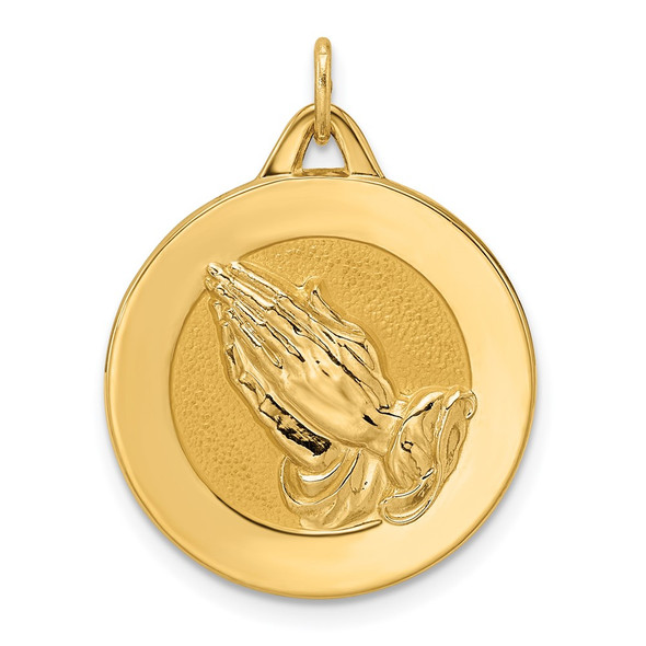 14k Yellow Gold Polished and Satin Solid Praying Hands Disc Pendant XR1951