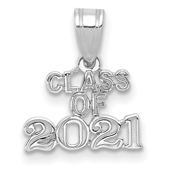 14k White Gold Block CLASS OF 2021 Pendant