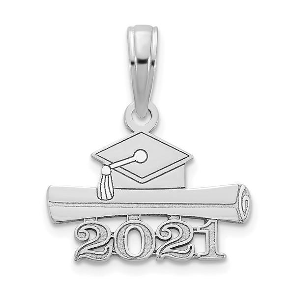 14k White Gold 2021 Graduation Cap and Diploma Pendant