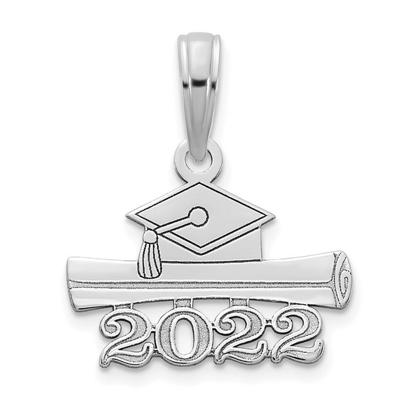 14k White Gold 2022 Graduation Cap and Diploma Pendant