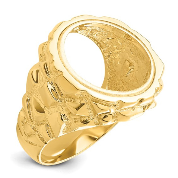 14k Yellow Gold Polished Mens Nugget-style 17.8 mm Coin Bezel Ring