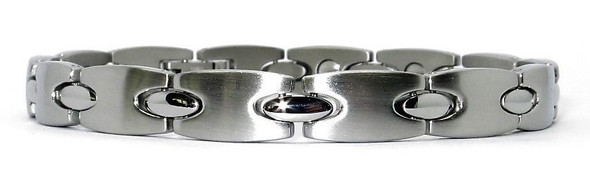 Elegant Shapes - Silver-Plated Stainless Steel Magnetic  Bracelet