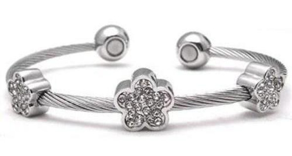 Flower Power - Stainless Steel Magnetic   Cuff