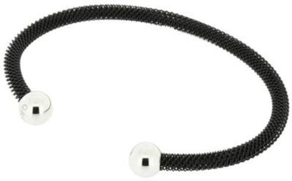 Q Ray - Orleans Mesh Series - Black Stainless Steel Cuff Bracelet