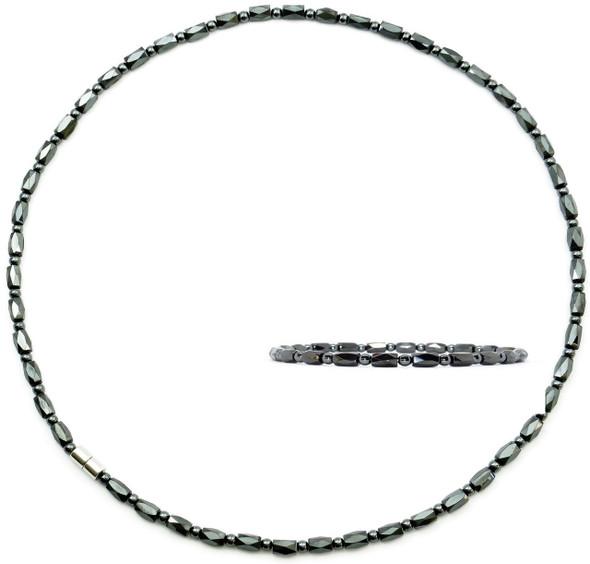 Hematite Faceted Set - Magnetic   Necklace & Bracelet Set