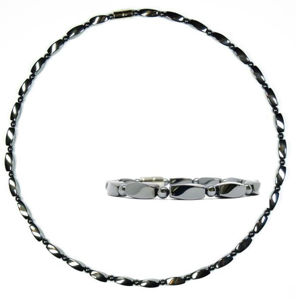 Hematite Twist Set - Magnetic   Necklace and Bracelet Set