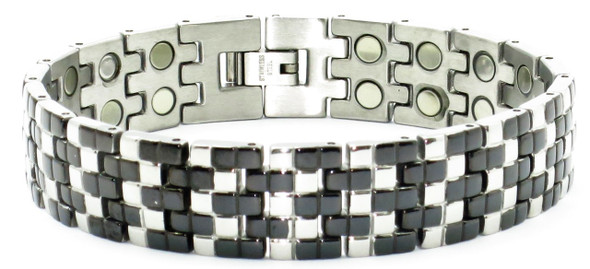 Salt-And-Pepper (two 5,000 gauss magnets per link) - Stainless Steel Magnetic Therapy Bracelet
