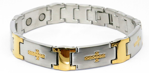 Textured Crosses - gold-plated Stainless Steel magnetic bracelet