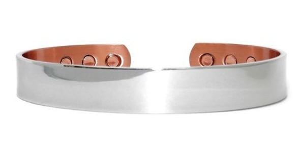 X-Large Silver Real Man's Choice- silver-plated Solid Copper Magnetic Therapy Cuff Bracelet