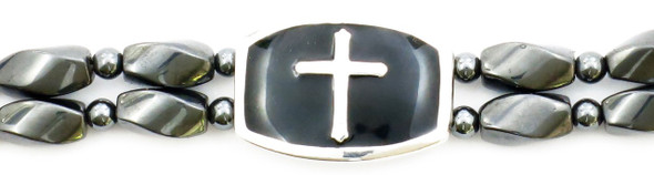 Silver Cross  - Hematite magnetic bracelet - Size 8 1/2 inches.