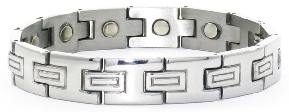Double T - Silver-Plated  Magnetic    Bracelet