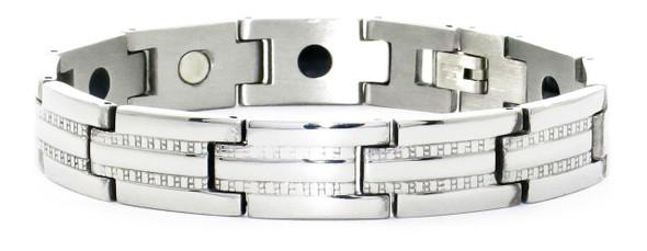 Silver Track - Stainless Steel magnetic bracelet -