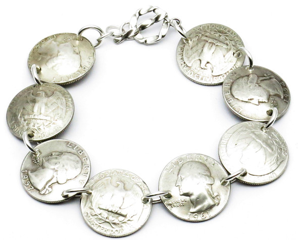 Handmade 90% Silver Quarters Bracelet