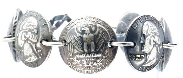 Patina - Handmade 90% Silver Quarters / .925 Sterling Silver Magnetic Bracelet