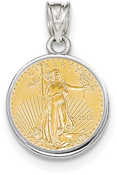 14k White Gold Polished Prong 1/10oz American Eagle Coin Pendant