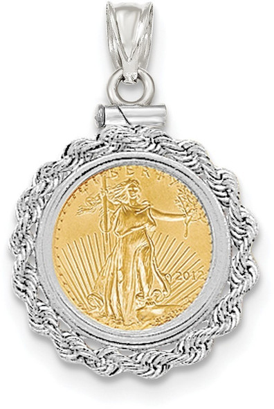 14k White Gold Hand Made Rope Polished Screw Top 1/10oz American Eagle Coin Pendant