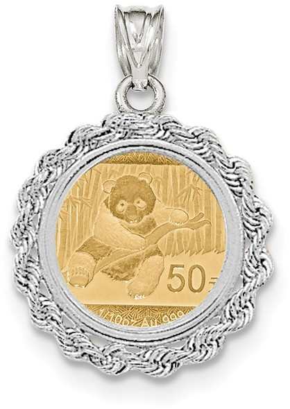 14k White Gold Hand Made Rope Polished Prong 1/10oz Panda Coin Pendant