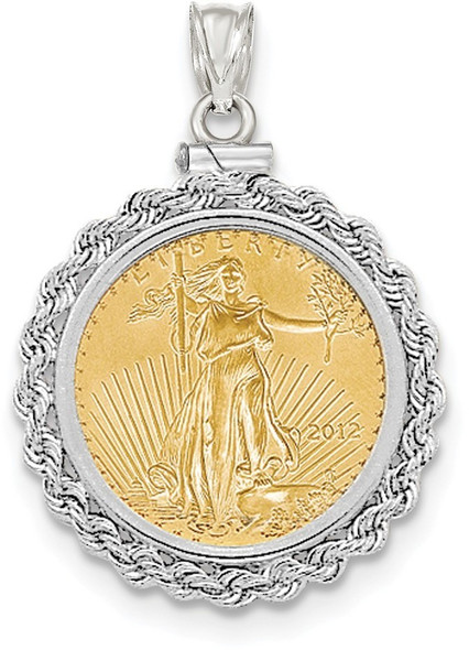 14k White Gold Hand Made Rope Polished Screw Top 1/4oz American Eagle Coin Pendant