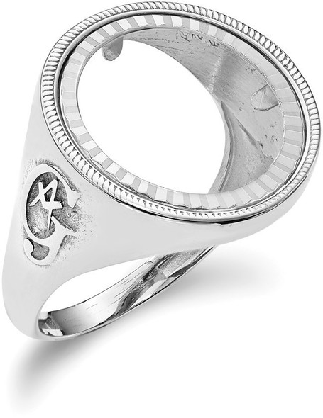 14k White Gold 1/10oz American Eagle Diamond-Cut Coin Ring (Coin Not Included)