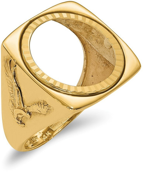 14k Yellow Gold 1/10oz American Eagle Diamond-Cut Coin Ring (Coin Not Included)