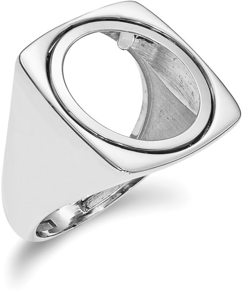 14k White Gold 1/10oz American Eagle Polished Coin Ring (Coin Not Included)