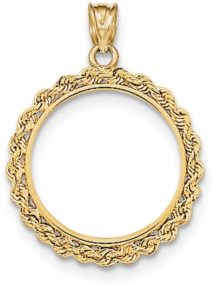 14k Yellow Gold Handmade Rope Polished Prong 1/4oz American Eagle Bezel (Coin Not Included) Pendant