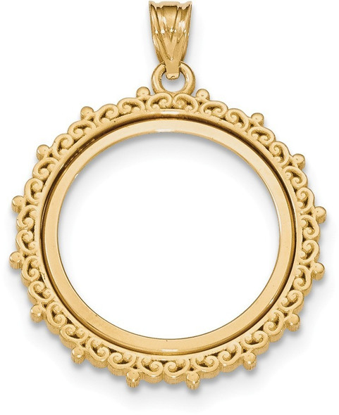 14k Yellow Gold Fancy Polished Prong 1/4oz American Eagle Bezel (Coin Not Included) Pendant