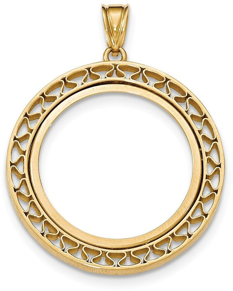 14k Yellow Gold Fancy Wire Polished Prong 1/2oz American Eagle Bezel (Coin Not Included) Pendant