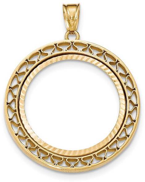 14k Yellow Gold Fancy Wire Diamond-Cut Prong 1/2oz American Eagle Bezel (Coin Not Included) Pendant