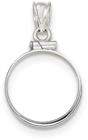 14k White Gold Polished Screw Top 1/10oz American Eagle Bezel (Coin Not Included) Pendant