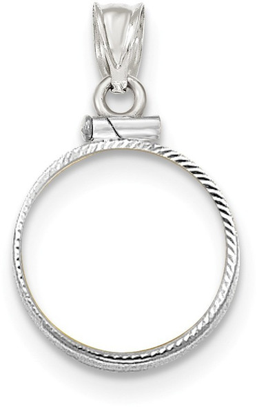 14k White Gold Diamond-Cut Screw Top 1/10oz American Eagle Bezel (Coin Not Included) Pendant
