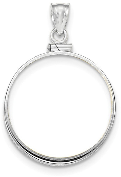 14k White Gold Polished Screw Top 1/2oz American Eagle Bezel (Coin Not Included) Pendant