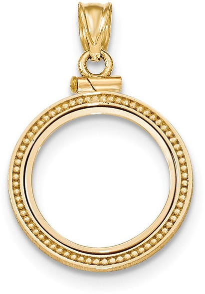 14k Yellow Gold Beaded Polished Screw Top 1/10oz American Eagle Bezel (Coin Not Included) Pendant