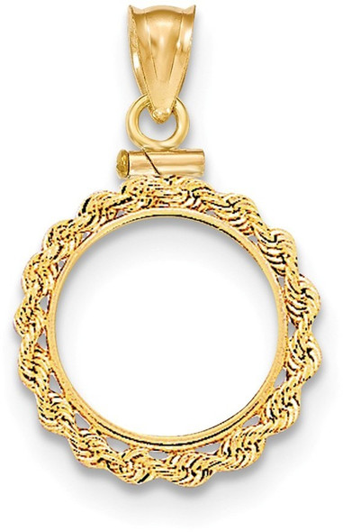 14k Yellow Gold Hand Made Rope Polished Screw Top 1/20oz Panda Bezel (Coin Not Included) Pendant