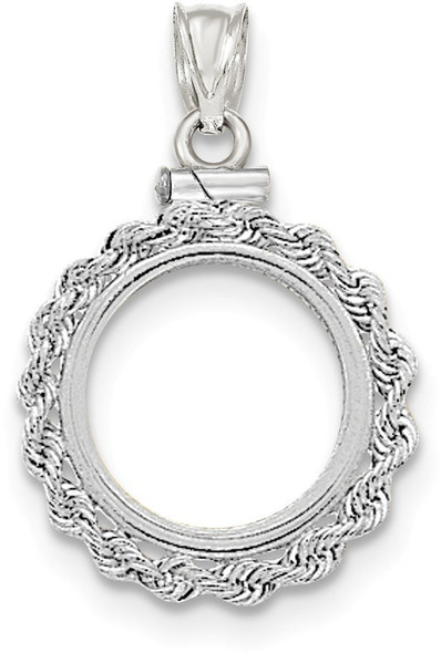 14k White Gold Hand Made Rope Polished Screw Top 1/10oz American Eagle Bezel (Coin Not Included) Pendant