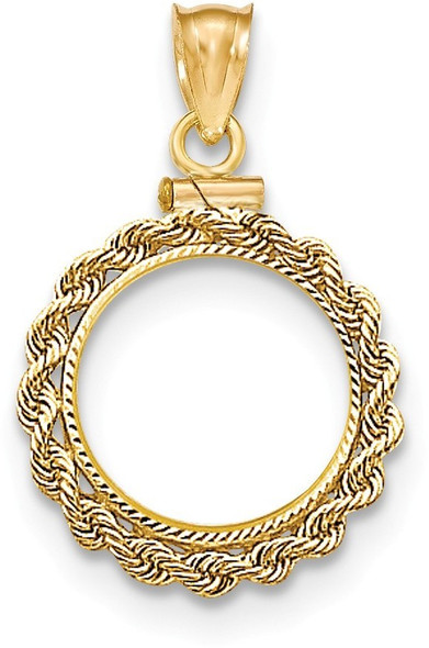14k Yellow Gold Hand Made Rope Diamond-Cut Screw Top 1/20oz Panda Bezel (Coin Not Included) Pendant