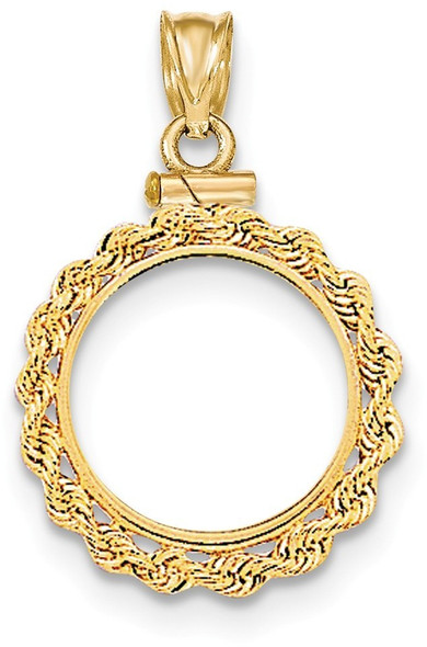 14k Yellow Gold Hand Made Rope Polished Screw Top 1/10oz Panda Bezel (Coin Not Included) Pendant