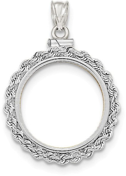 14k White Gold Hand Made Rope Polished Screw Top 1/4oz American Eagle Bezel (Coin Not Included) Pendant