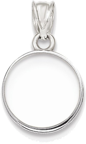 14k White Gold Polished Prong 1/20oz Panda Bezel (Coin Not Included) Pendant